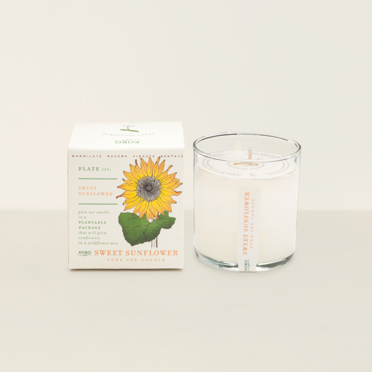 Among Goodee's new candles is the Sweet Sunflower Candle by Kobo (\$\28), made with eco-friendly soybean wax and a cotton wick. Best of all? It comes in biodegradable seed-studded packaging that can be planted in the garden.