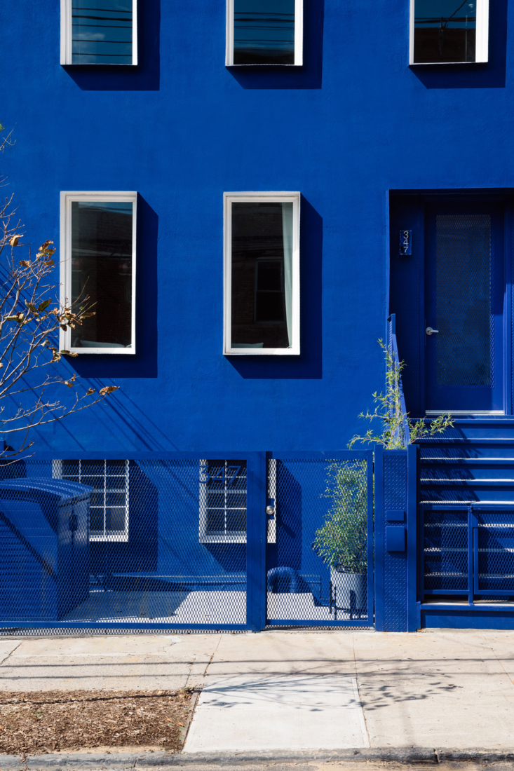 A shockingly (but pleasingly) bright blue exterior in Brooklyn. Photograph by Brian W. Ferry, courtesy of LOT Office for Architecture, from Blue Streak: A Redone Bushwick Townhouse in an Yves Klein-Esque Hue.