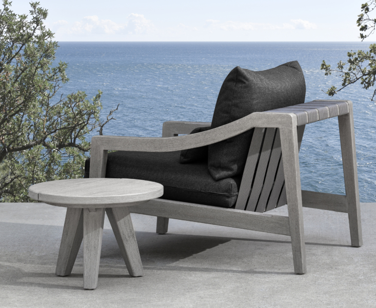 Not sure which fabric is best for your space? Order swatches for outdoor cushions online and they'll be sent to you at no charge; or, visit a MG+BW store and take free swatches home with you. Shown here is the Del Mar Outdoor Lounge Chair with carved detailing and Italian strap embellishments, the perfect place to relax.