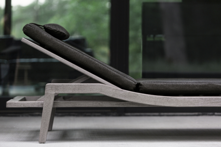 A detail of the slim, sleek Del Mar Outdoor Pool Chaise; note the head cushion for extra comfort.