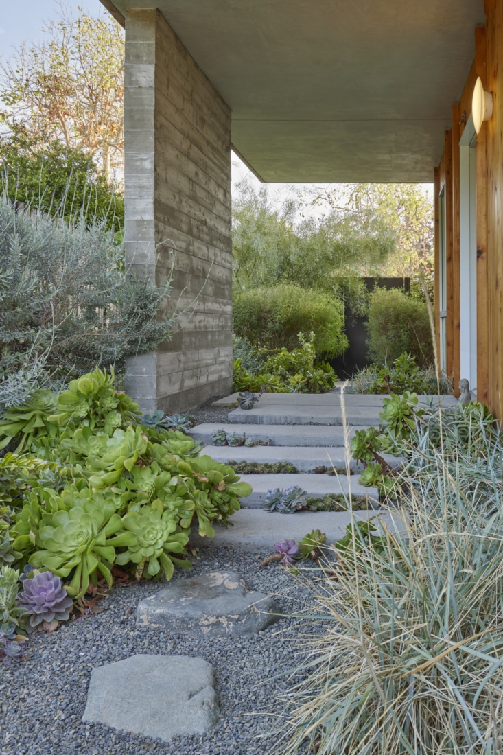 &#8\2\20;We both agreed we wanted the additional hardscape elements to read as more natural/mineral,&#8\2\2\1; says David, &#8\2\20;and so we buried boulders to act as a foil to the stronger geometry of the poured concrete.&#8\2\2\1; The boulders were all sourced from nearby Simi Valley; the landscape construction was executed by Barranca Landscape.