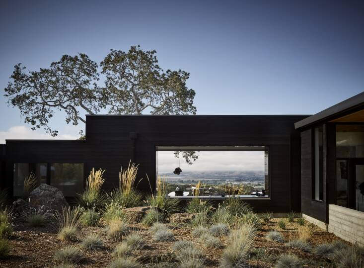 Las vistas se muestran ingeniosamente en esta casa de Sonoma por el arquitecto George Bevan.  Fotografía de Douglas Friedman, de At Home in Wine Country.