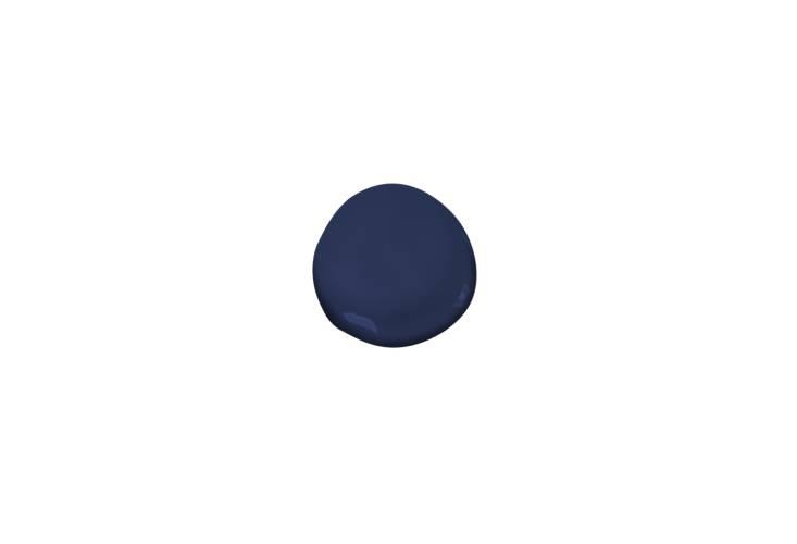 The front door is painted Benjamin Moore Bold Blue.
