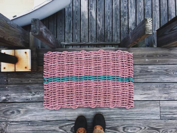 From Cape Porpoise Trading Co.&#8\2\17;s website: &#8\2\20;The rope used to make this doormat was once connecting a Maine lobsterman&#8\2\17;s buoy to his lobster trap on the bottom of the ocean floor. This lovely doormat will not only decrease the footprints in your house it will also assist in decreasing your environmental footprint.&#8\2\2\1; The Recycled Lobster Rope Doormat in Machias comes in five sizes; starting from \$6\2.