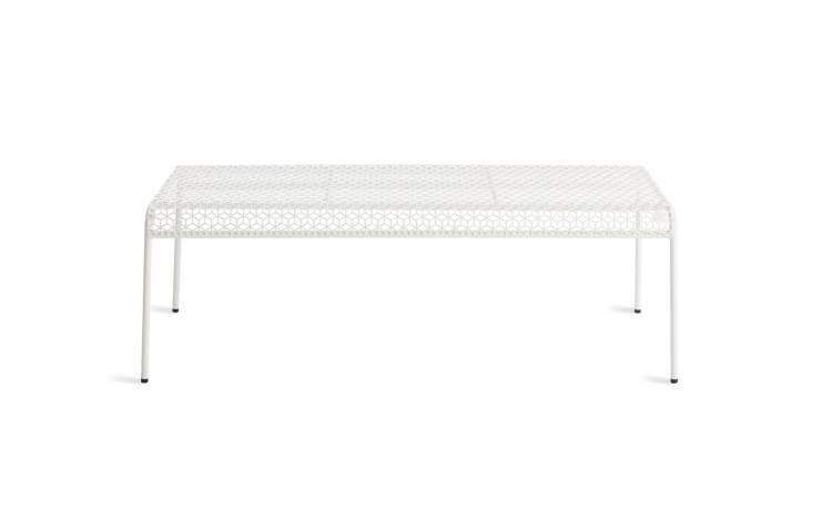 Theirs is Ikea&#8\2\17;s PS \20\14 bench, since discontinued. Blu Dot&#8\2\17;s Hot Mesh Bench is a good alternative; \$\249.