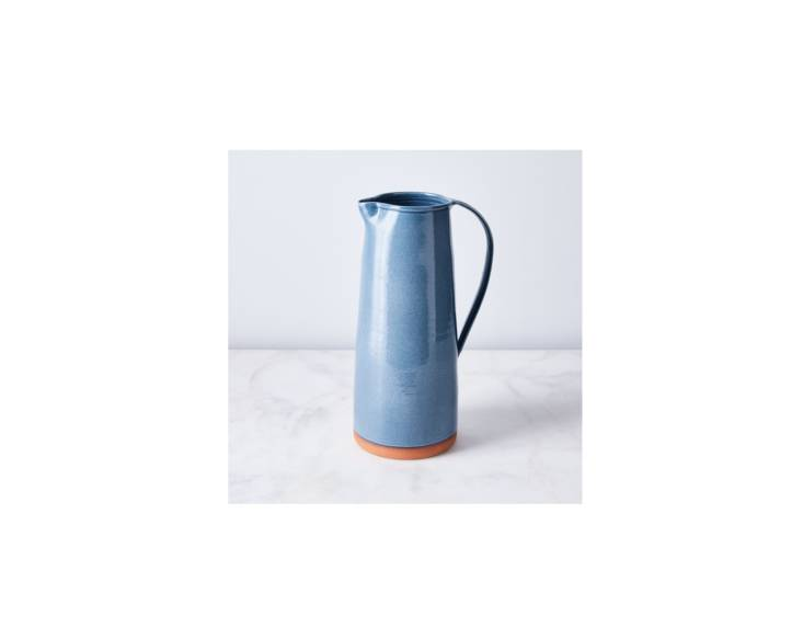 New York Stoneware&#8\2\17;s Handthrown Rustic Ceramic Pitcher, in blue, is \$\240 at Food5\2.