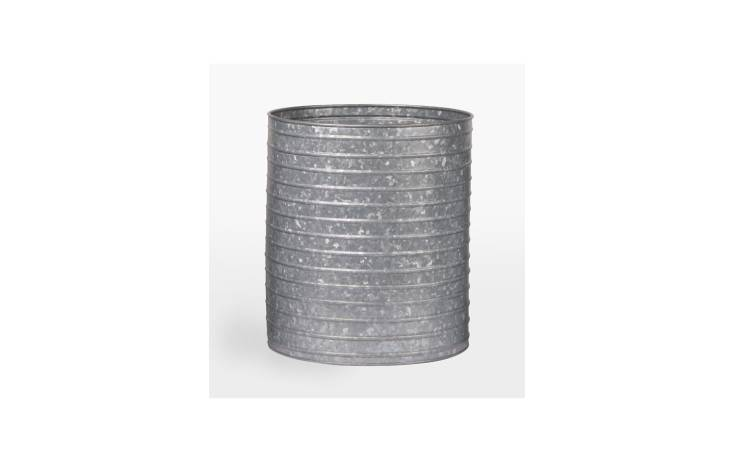 The Ribbed Galvanized Metal Planter comes in 3 sizes; from \$79 at Rejuvenation.