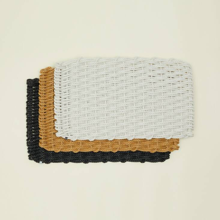 Hawkins New York carries The Rope Co.&#8\2\17;s Woven Rope Doormats in monochromatic neutrals; \$68.