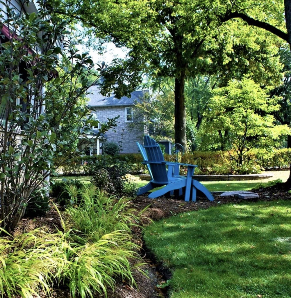 Shade oasis with blue andirondacks.