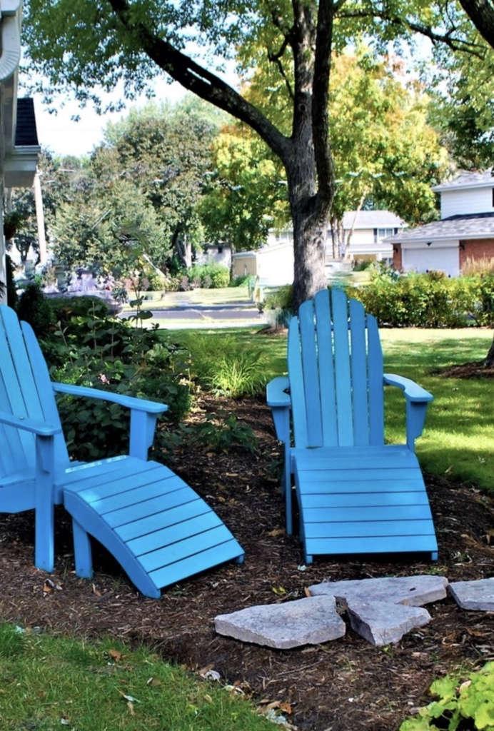 Blue andirondack chairs