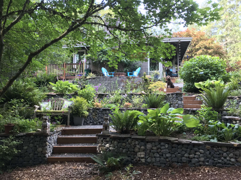The Gabion Terrace, gabions with local stone, wood edged steps and gravel paths.