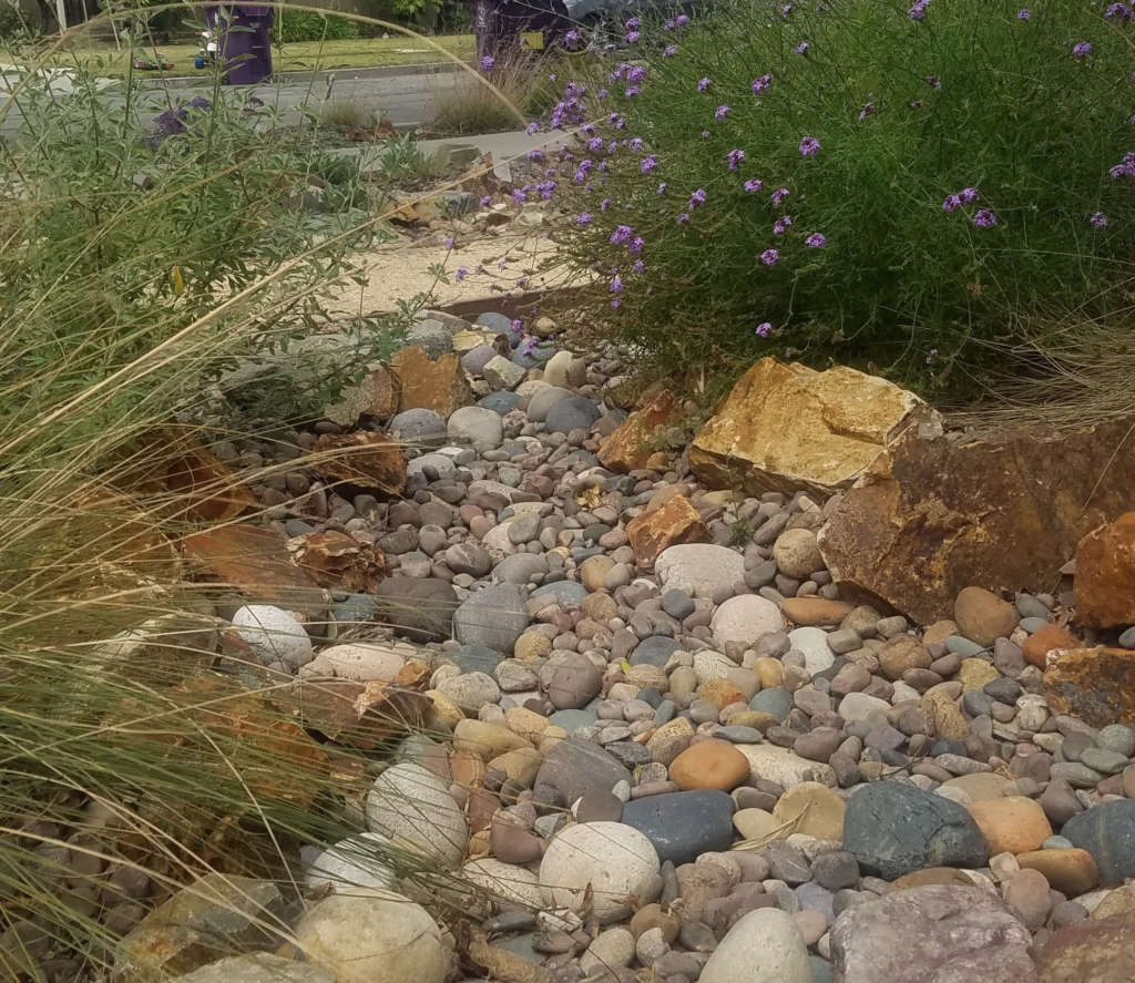 A dry creek to capture rain water run off