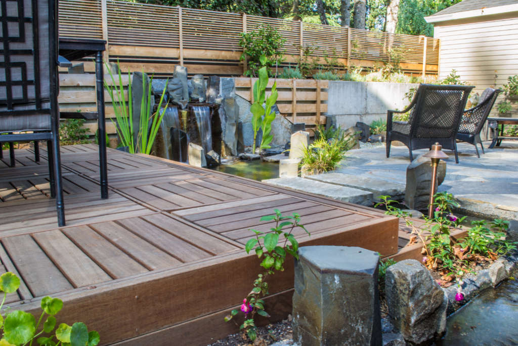 Elevated Deck and Slate Patio