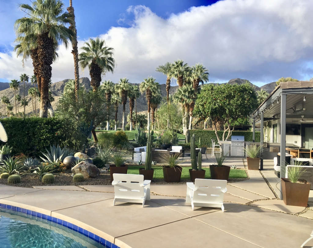 View from Pool Across the Patio and Desert Landscape