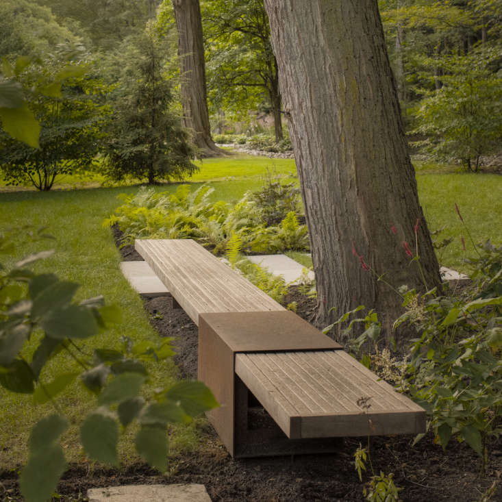 See more of this -foot ipe and steel bench in our  Considered Design Awards projects. Photograph by Jeff McNeill.