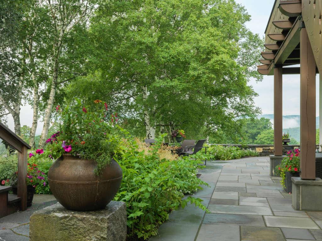 Stone Softened by Trees and Plantings