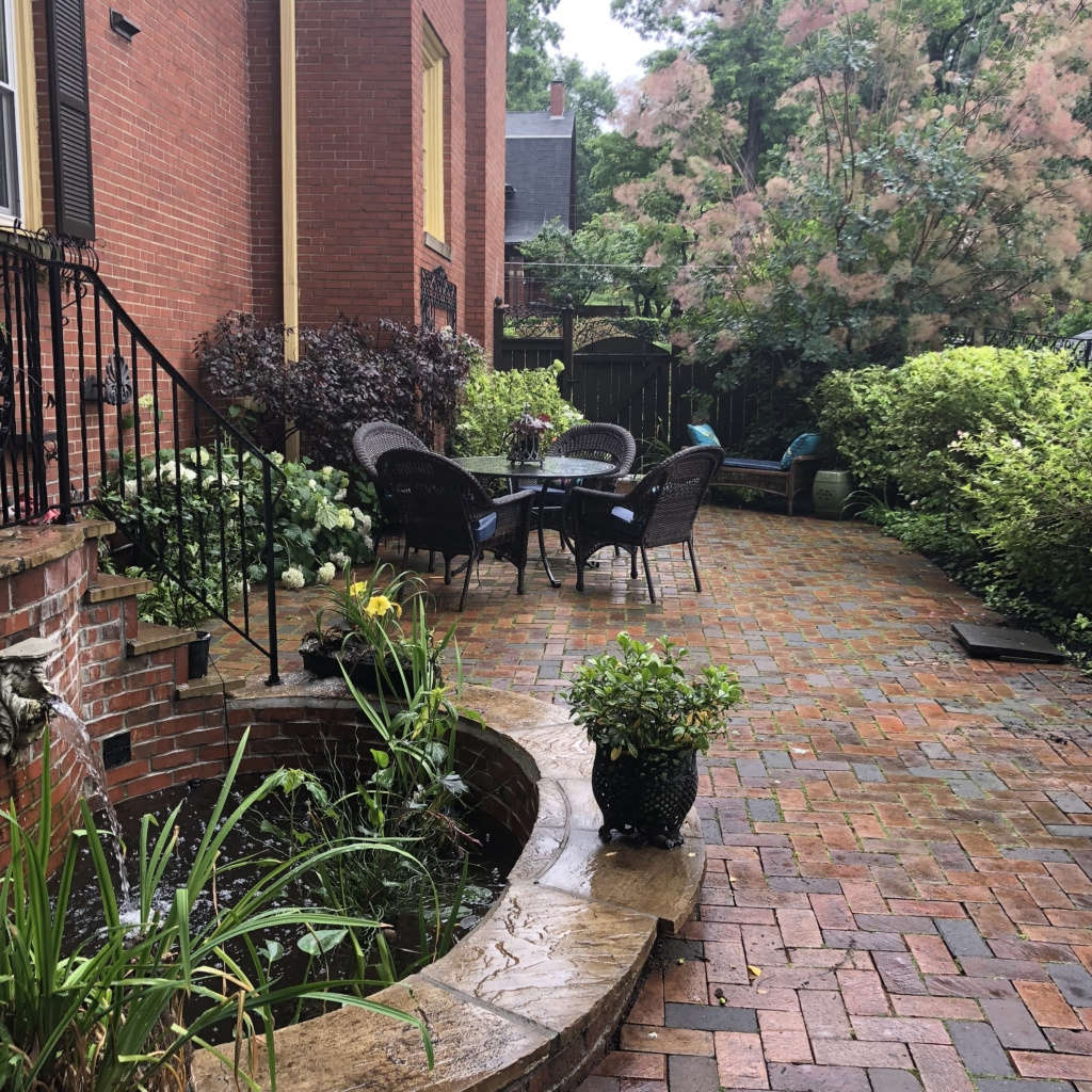 The Guitar shaped Patio with Kidney shaped Pond