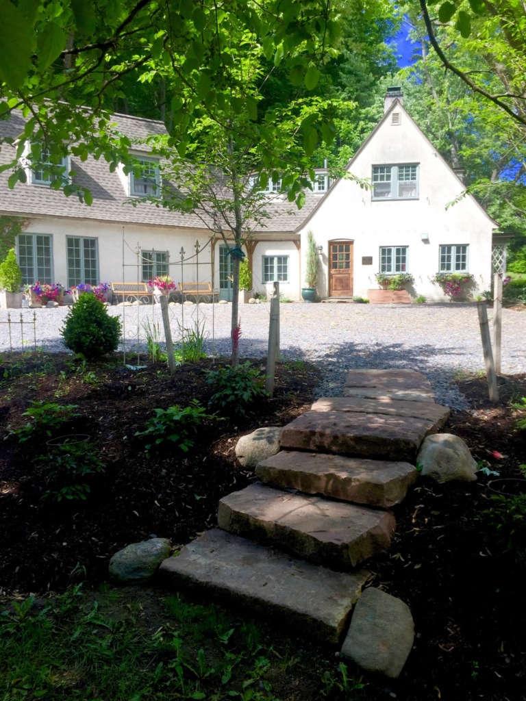 Glen Hollow garden steps of rough-hewn stone