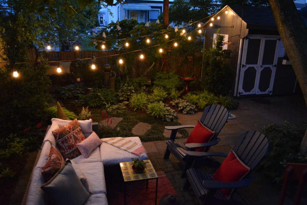 Backyard Garden Space at Dusk