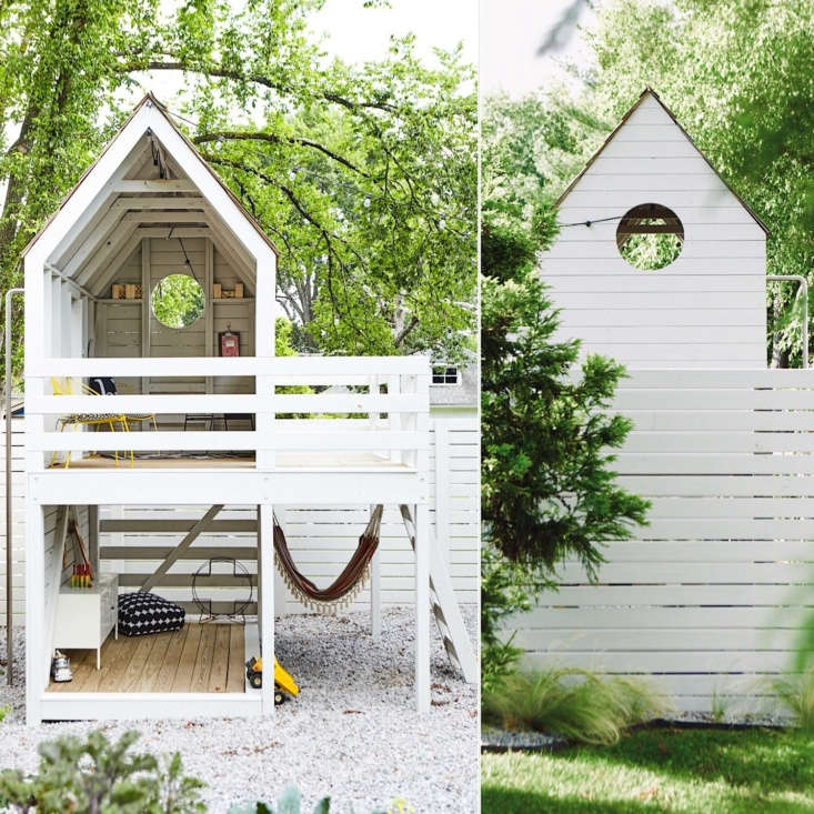 Amateur gardener Kristin and her husband, James, transformed a wet, weed-filled corner of their yard into a Garden Birdhouse for Kids Big & Small.Gardenista editor Michelle Slatalla admires the use of &#8