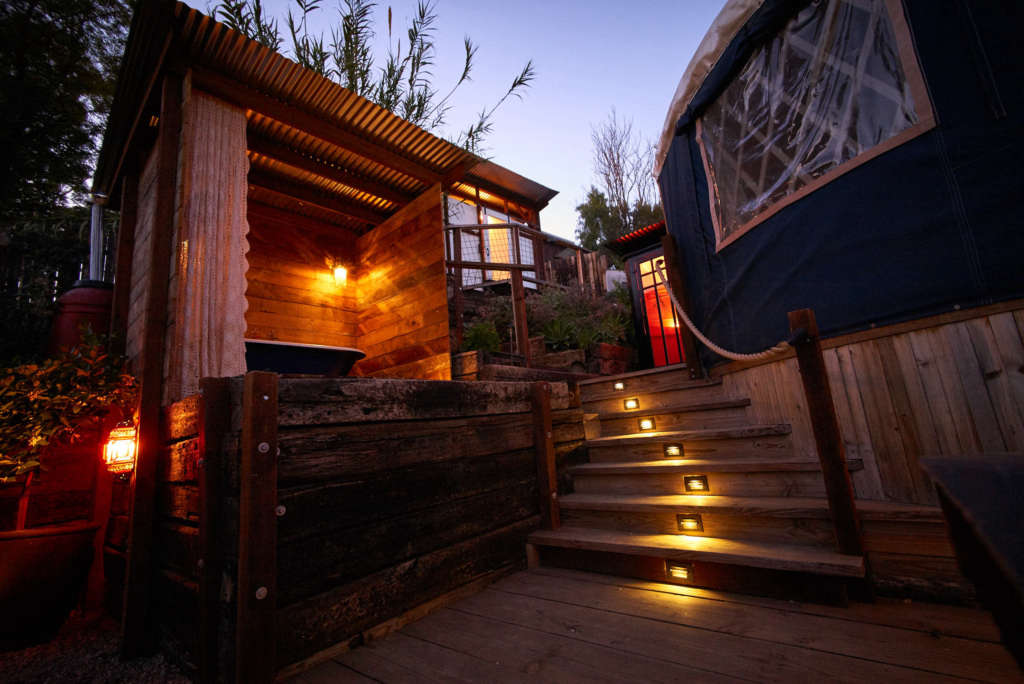 Outdoor solar powered tub.