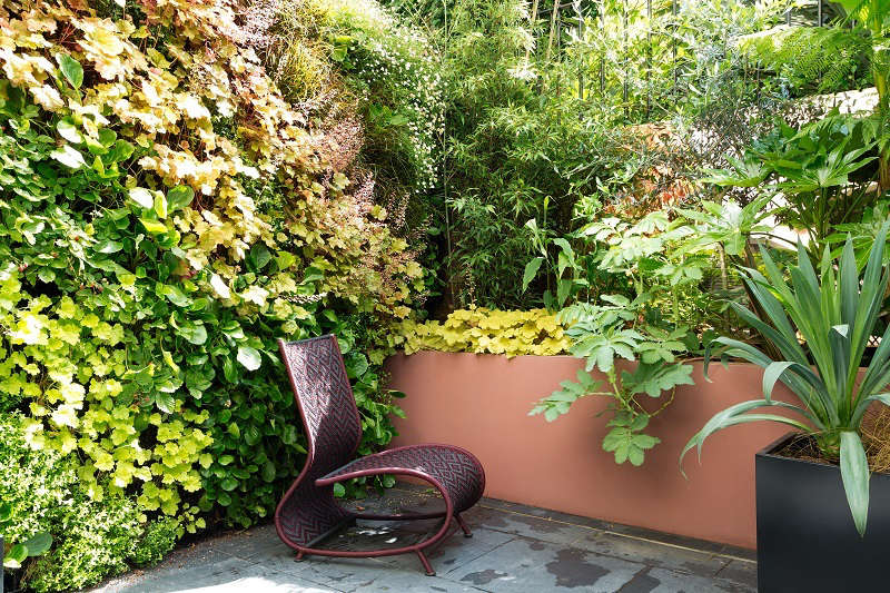The green wall and the modern African furniture.