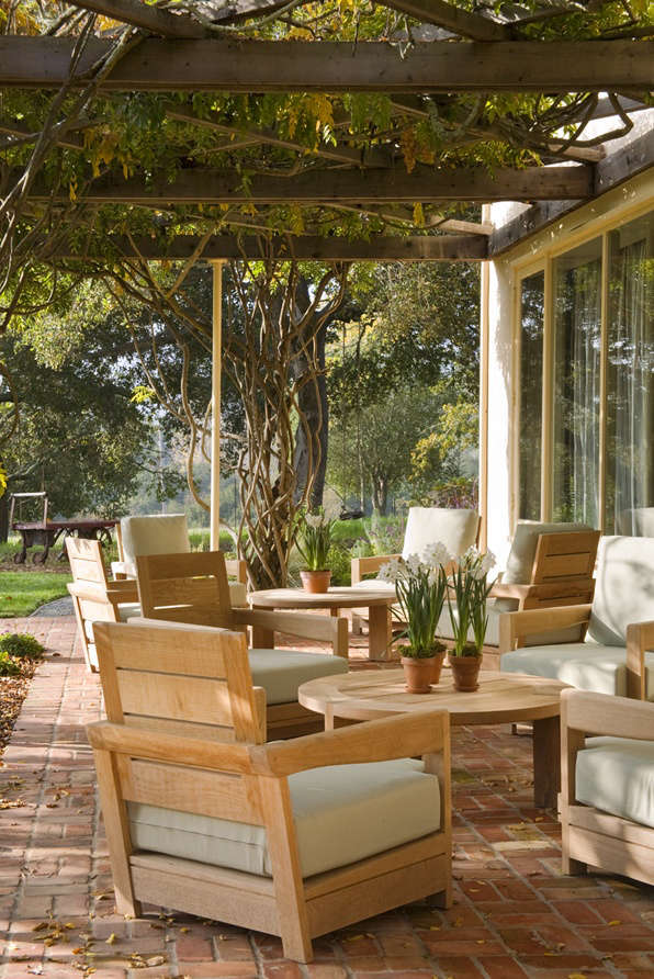 Trellised covered patio