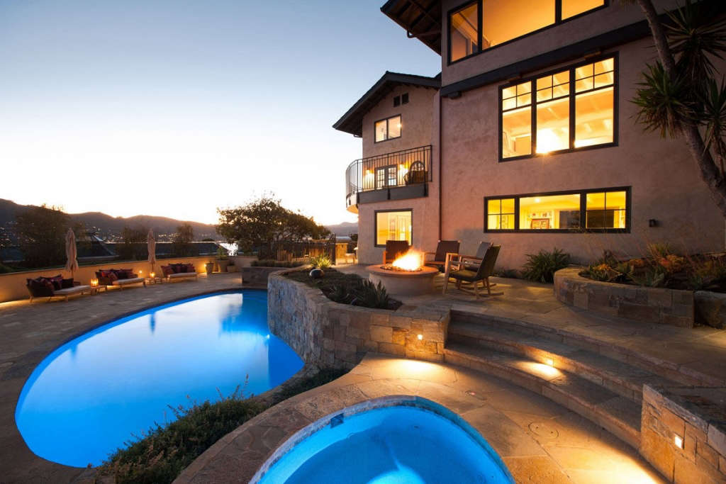 Terraced pool area