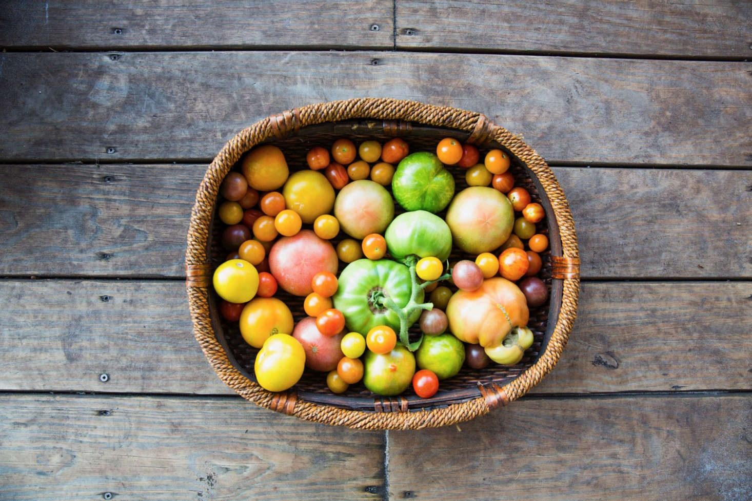 A harvest of cherry and heirloom tomatoes from Greyfield Inn on Cumberland Island. Photograph byGabe Hanway, fromGreyfield Gardens: A Chef's Dream on a Remote Georgia Island. For more on hybrid versus heirloom tomatoes, seeEverything You Need to Know About Tomatoes.